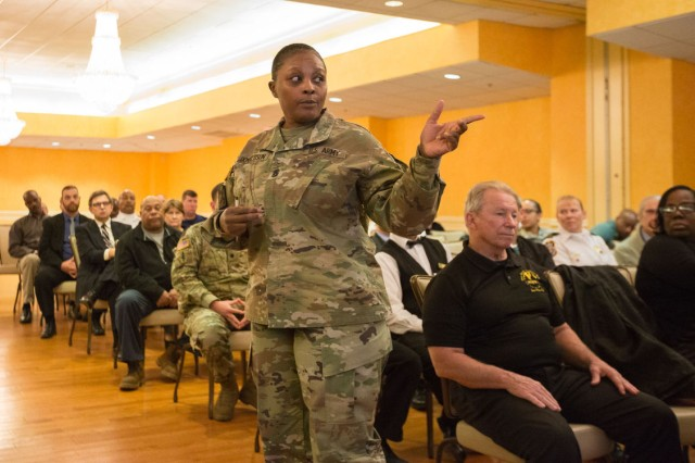 Joint Base Myer-Henderson Hall Command Sgt. Maj. Carolyn Y. Donaldson speaks during a quarterly town hall at Spates Community Club Jan. 26