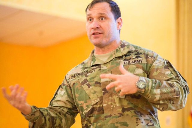 Joint Base Myer-Henderson Hall Commander Col. Patrick M. Duggan speaks during a quarterly town hall meeting Jan. 26.