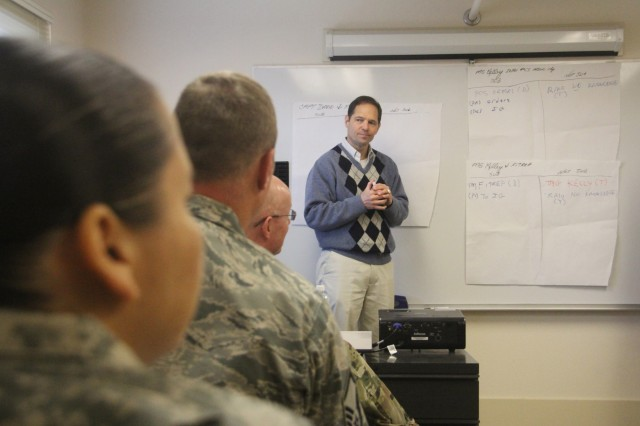 Tim Todaro, deputy inspector general, Regional Health Command-Pacific, leads his small section through a practical exercise Jan. 12 during a Department of Defense Office of the Inspector General whistleblower reprisal investigations course.