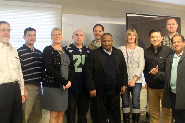 Nine members of the Regional Health Command-Pacific team recently completed from the Department of Defense Office of the Inspector General whistleblower reprisal investigations course. The team members were from the RHC-P Office of the Inspector General and the Command Judge Advocate staff. They are pictured with DOD IG instructors Linda Mann-LeClair and Ken Sharpless.