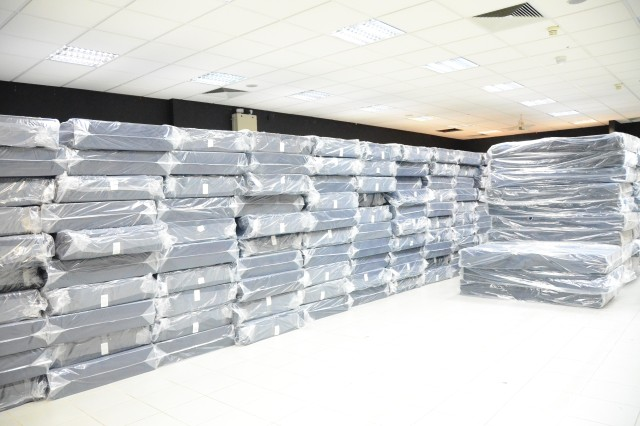 Stacks of mattresses sit ready for distribution at Bismarck Kaserne in Katterbach, Germany, Jan. 20, 2017. The shipment of mattresses was part of U.S. Army Garrison Ansbach's preparation for the arrival of the 10th Combat Aviation Brigade, which is scheduled to occur in phases primarily throughout the next two months. A portion of the brigade is slated to forward deploy to participate in Atlantic Resolve in Eastern Europe and support other aviation operations across Europe.