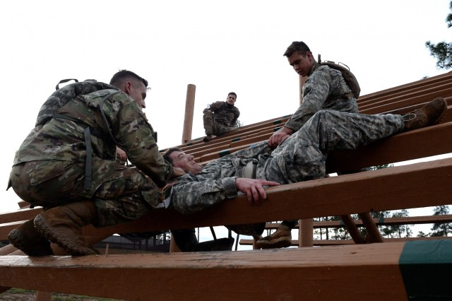 Soldiers with the North Carolina Army National Guard's Headquarters and Headquarters Troop, 1st Squadron, 252nd Armor Regiment, navigate the obstacle course at the Army Guard's Warrior Training at Fort Benning, Georgia, as they vie for selection to represent the Army Guard in the Gainey Cup, Thursday, Jan. 26, 2017. Held every other year, the Gainey Cup is a demanding, mentally and physically challenging competition that tests scout teams on a variety of tactical and technical skills to determine the best scout team in the Army.