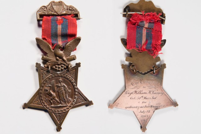 The Medal of Honor was awarded to U.S. Army Sgt. William H. Carney, Company C, 54th Massachusetts Colored Infantry Regiment, for Gallantry at Fort Wagner, S.C., July 18, 1863, issued in 1900.