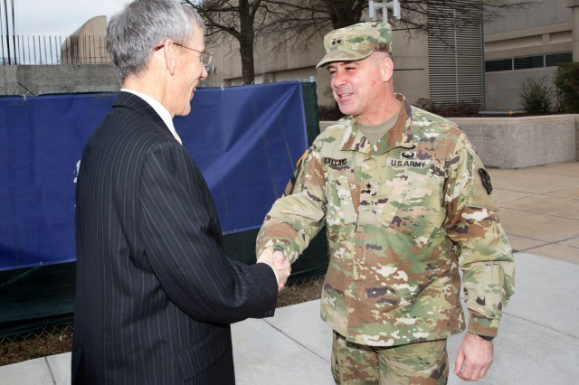 Maj. Gen. Christopher S. Ballard, commanding general, U.S. Army Intelligence and Security Command (INSCOM), greets Acting Secretary of the Army Robert M. Speer, during his visit to INSCOM, Fort Belvoir, Virginia, Feb 3.  (U.S.Army Photo by Tani Murphy)