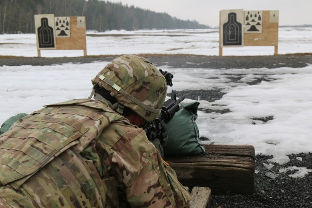 Soldiers from various units fired multiple weapon systems covered during the Small Arms Trainer Course, Feb. 7, 2016, in Grafenwoehr Training Area, Germany. The Small Arms Trainer Course gives combat and support Soldiers hands-on training to serve as subject matter experts using various weapons as well as assist their commanders in planning ranges for unit readiness training.