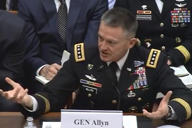"""Army Vice Chief of Staff Gen. Daniel B. Allyn testifies to the House Armed Services Committee Feb. 7, 2017, about the Army making progress toward becoming """"fully auditable."""""""