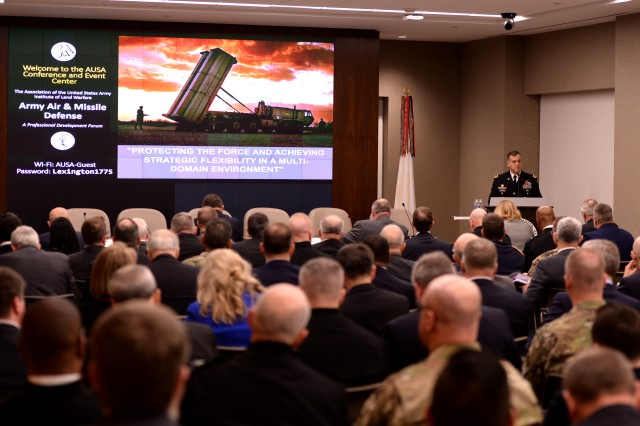 Caption: Lt. Gen. James H. Dickinson, head of the Army Space and Missile Command, speaks to audience members attending the Association of the United States Army air and missile defense forum in Arlington, Va., Feb. 7, 2017.