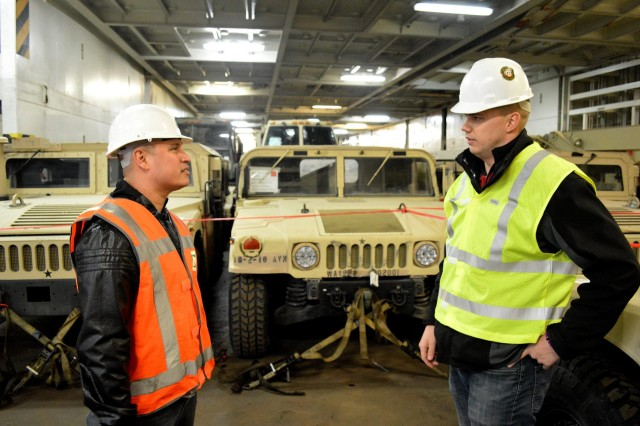 The 10th Combat Aviation Brigade initiated offloading of over 700 pieces of support equipment at the seaport of debarkation in Antwerp, Belgium, Feb. 8, 2017.