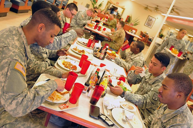 LRC-Irwin serves up to 650,000 meals annually in two dining facilities. It also provides theater entry-and-closing feeding support to various personnel who are initiating, supporting, and ending a rotation. (Photo by Jon Micheal Connor, ASC Public Affairs)