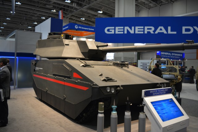 General Dynamics Land Systems' Griffin tech demonstrator on display at the AUSA Annual Meeting & Exposition in October 2016 in Washington. The tech demonstrator offered a tangible starting point for government-industry conversations about the Army's requirements for Mobile Protected Firepower, with the ultimate goal of avoiding requirements so prescriptive that they rule out the possibility of industry innovation. (Photo courtesy of General Dynamics)