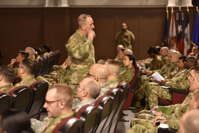 WIESBADEN, Germany - Command Sgt. Maj. David Davenport, U.S. Army Training and Doctrine Command command sergeant major, shared some innovative changes to the U.S. Army's noncommissioned officers career paths via TRADOC at a townhall here.