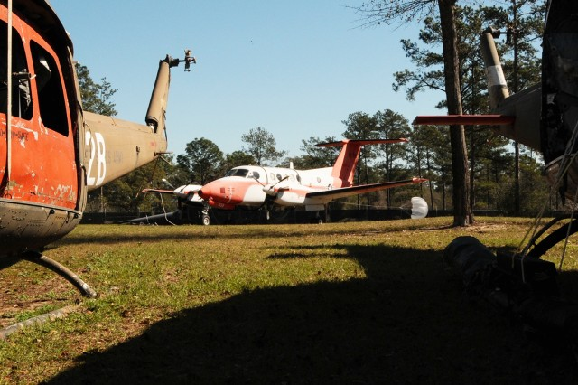 The C-12 settles into its new home at the Fort Rucker Aviation Combat Forensics Lab.