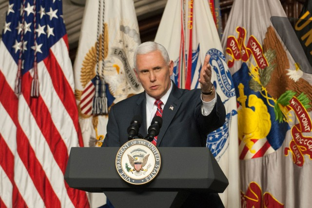 The Vice President of the United States, Mike Pence, addresses the Corps of Cadets during the Flipper Dinner at the U. S. Military Academy at West Point in Washington Hall on Feb. 9.  The annual dinner is held to commemorate the life of Henry O. Flipper, the first African-American graduate of West Point.