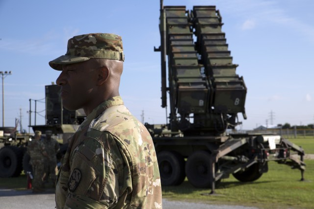 U.S. Army Brig. Gen. Sean Gainy tours the Patriot Missile training area on Marine Corps Air Station Futenma Okinawa, Japan, Aug. 16, 2016. Soldiers with Bravo Battery, 1st Battalion, 1st Air Defense Artillery performed Patriot Battery Certification training in which the battery simulated missile defense for the island.  The Patriot Air and Missile Defense System is a surface-to-air defense capability designed to detect, target and destroy incoming missiles or aircraft. Gainy is the commanding general of the 94th Army Air and Missile Defense Command in Hawaii. (U.S. Marine Corps photo by Cpl. Jessica Collins)
