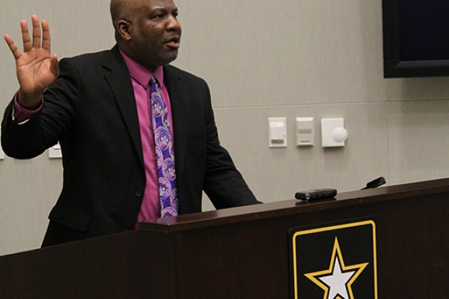 Robert T. Vinson, an associate professor of History and African Studies at the College of William and Mary, discusses the roles of prominent African American leaders in American education, Feb. 8, at Shaw Air Force Base, S.C., during U.S. Army Central's Black History Month observance.