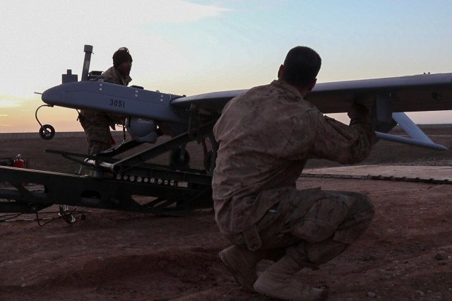 Paratroopers of the 2nd Brigade Combat Team, 82nd Airborne Division, conduct pre-flight cheks of an RQ-7 Tactical Unmanned Aircraft System prior to launch in Iraq, Jan. 26, 2017. The 2nd BCT, 82nd Abn. Div., is deployed in support of Operation Inherent Resolve, and enables their Iraqi security force partners through the advise and assist mission, contributing planning, intelligence collection and analysis, force protection, and precision fires to achieve the military defeat of ISIL. CJTF-OIR is the global Coalition to defeat ISIL in Iraq and Syria.(U.S. Army photo by Staff Sgt. Jason Hull)
