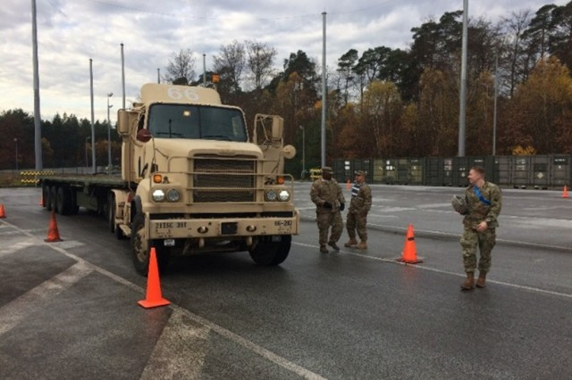 KAISERSLAUTERN, Germany -- 2nd Lt. Vaccaro walks away from the M915 truck following hands on instruction from the DTA instructors. Between October 2016 and January 2017, the 66th Transportation Company conducted a multitude of moral and training events that included driver's training in October, an M4 range in November, platoon field training exercises in December, and a Family Readiness Group Christmas party in December. (Photo by 1st Lt. Steven Scott, 66th Transportation Company, 18th Combat Sustainment Support Battalion, 16th Sustainment Brigade)
