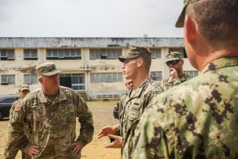 USARAF general visits Seabees building foundation in Cameroon