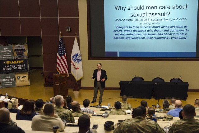 "Mike Medis, advocacy and outreach specialist with Metropolitan Organization to Counter Sexual Assault (MOCSA), spoke about the need to include more men in the sexual assault prevention and response movement at the U.S. Army Sexual Harassment/Assault Response and Prevention (SHARP) Academy entitled ""Building Safe Communities in our Nation's Schools"" at Fort Leavenworth, Kan., on Wednesday, Feb. 8."
