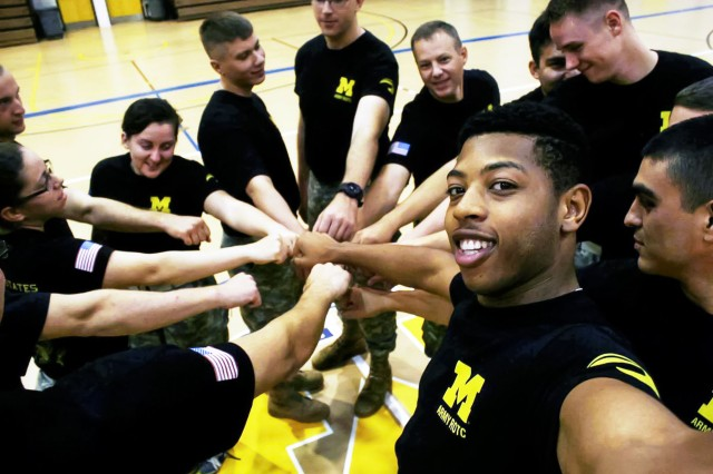 Cadet Jewell Jones takes a selfie of his ROTC squad during physical training at the University of Michigan-Dearborn.