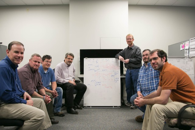 """Battle Operations Software Suite team members from left to right: Doug Nordeman, Rick Vanderwal, Scott Payne, Jim Green, Robert """"Bear"""" Marples, Ray Young, and Dan Payment."""