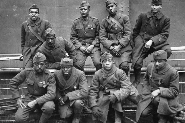 """The 369th Infantry Regiment served on the front lines for 191 days during World War I, longer than any other American unit. In that time, the Soldiers of the regiment, known as the """"Harlem Hellfighters,"""" never gave up any ground they captured."""