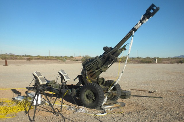 The M119 105mm howitzer, outfitted with the LBOP muzzle brake, ready for live-fire testing at the Yuma Proving Ground in Arizona.