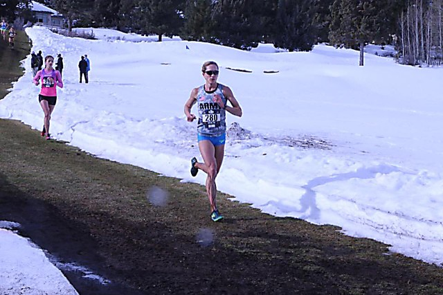 Capt. Kelly Calway leads the All-Army women's team to victory in the 2017 Armed Forces Cross Country Championships by winning the 10-kilometer race in 38 minutes, 18 seconds on Feb. 4 at snow-covered River's Edge Golf Course in Bend, Oregon.