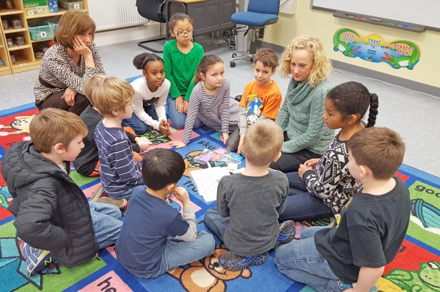 Aukamm Principal Alice Berard (left) and Math Coach Diane Johnston work with second and third grade students on math activities Feb. 7, 2017 at Aukamm Elementary.