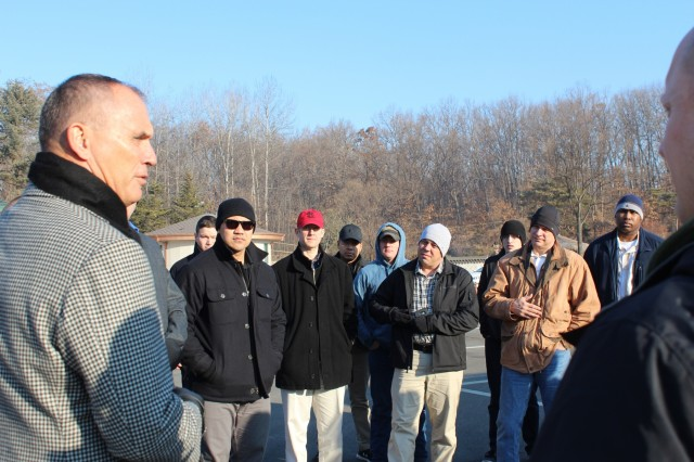 Riki Ellison, three-time Super Bowl champion and chairman and founder of the Missile Defense Advocacy Alliance, address Soldiers assigned to 35th Air Defense Artillery Brigade during the unit's staff ride to the DMZ, Feb. 14, 2017. The purpose of the staff ride was to provide Soldiers with a better understanding of Korea's history.