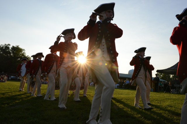 Soldiers from the 3rd U.S. Infantry Regiment (The Old Guard) perform during Twilight Tattoo at Joint Base Myer - Henderson Hall. (Photo by Staff Sgt. Jennifer C. Chance, JFHQ-NCR/MDW Public Affairs)