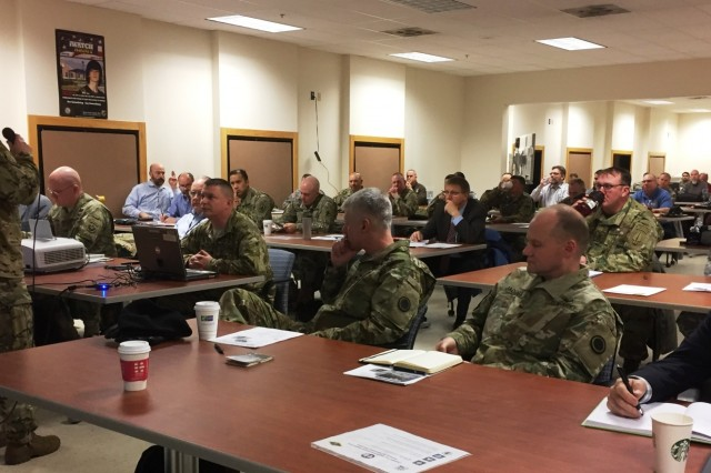 Col. Shawn Reed, Deputy Commander-Sustainment for U.S. Army Alaska, gives opening remarks at the Extreme Cold Weather/High Altitude Symposium on Fort Wainwright, Alaska, Feb. 13, 2017. The symposium brings together U.S. military, academia and industry experts to discuss equipment, concerns and solutions for operating effectively in ECW/HA environments. (Photo by Capt. Richard Packer, U.S. Army Alaska Public Affairs)