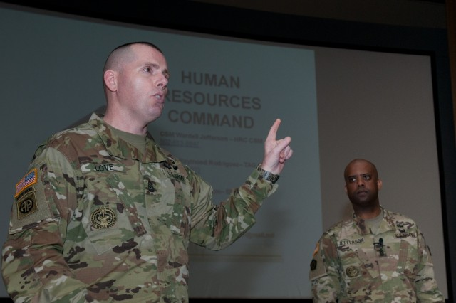 Command Sgt. Maj. Jack Love (right), the Command Sgt. Maj. of 7th Infantry Division, thanked Command Sgt. Maj. Wardell Jefferson (left), the Command Sgt. Maj. of Human Resources Command, for talking about the qualitative management program and the current end state of military strength to senior enlisted Soldiers at Joint Base Lewis- McChord, Wash., Feb. 15, 2016. (U.S. Army photo by Sgt. David N. Beckstrom, 5th Mobile Public Affairs Detachment, I Corps)