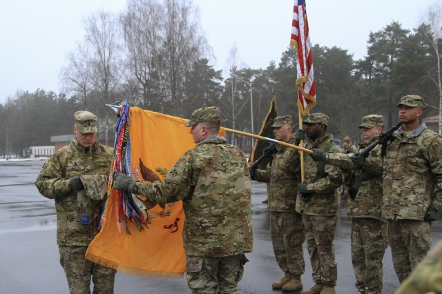 CAMP ADAZI, Latvia - Command Sgt. Maj. Raymond Butler, command sergeant major, 1st Battalion, 68th Armor Regiment, 3rd Armored Brigade, 4th Infantry Division, and Lt. Col. Stephen Capehart, commander, 1-68 AR, uncase the unit colors during a welcome ceremony at Camp Adazi, Latvia, Feb. 17, 2017. The Soldiers of 1-68 AR replaced the Paratroopers of 2nd Battalion, 503rd Infantry Regiment, 173rd Airborne Brigade, in support of Operation Atlantic Resolve. Atlantic Resolve is a U.S. led effort in Eastern Europe that demonstrates U.S. commitment to the collective security of NATO and dedication to enduring peace and stability in the region. (U.S. Army photo by Sgt. Lauren Harrah/Released)