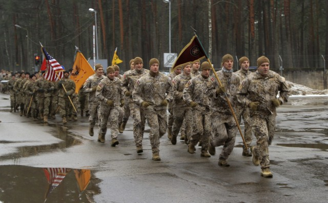 Latvian forces welcome 1-68 AR 'Silver Lions'