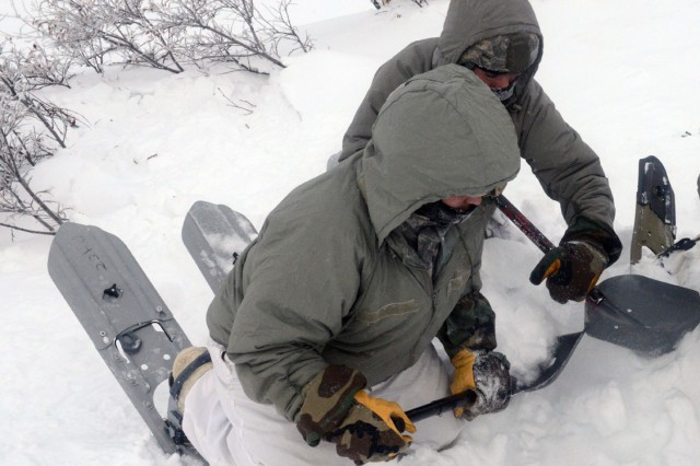 "Diggers retrieve a ""victim"" of an avalanche, located by probers, during the bivouac portion of the Cold Weather Leaders Course, Feb. 9-14, 2017.  The CWLC is taught at the Northern Warfare Training Center at Black Rapids, Alaska.  The entire course ran Feb. 2-16, 2017."