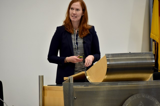 U.S. Department of Defense Principal Director for Cyber Policy Kate Charlet outlines department cyber priorities at the George C. Marshall European Center for Security Studies' Cyber Security Studies Program, Feb. 16.  The two-and-a-half week long course, designed to build global cyber security capacity through understanding and formulating strategies, attracted 76 military and civilian cyber practitioners from 55 nations.