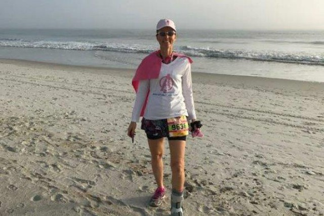 Melissa O'Neil, Army veteran and spouse of Col. Brian P. O'Neil, assistant chief of staff for personnel (G1), U.S. Army Intelligence and Security Command (INSCOM), on Ponte Vedra Beach during the half marathon portion of the Donna Marathon and half marathon.