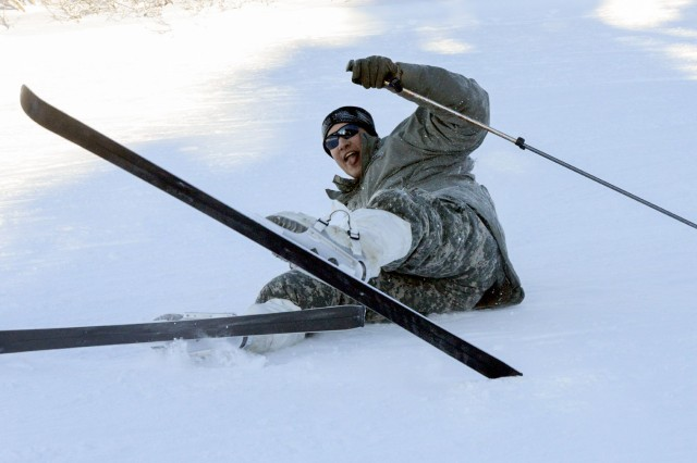 A Soldier takes a tumble, then gets back up and continues to ski, falling fewer times each day as training progresses.