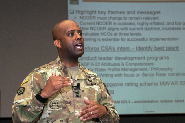 Command Sgt. Maj. Wardell Jefferson, Command Sergeant Major for U.S. Army Human Resources Command, discusses retention control points and non-commissioned officer evaluation reports with senior enlisted Soldiers at Joint Base Lewis-McChord, Wash., Feb. 15, 2016. Jefferson stressed the importance of a properly documented NCOER by saying that they are the most important documents in a promotion packet.
