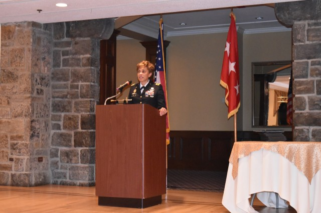 Lt. Gen. Nadja West, the 44th Surgeon General of the Army, Commander of U.S. Army Medical Command, and U.S. Military Academy graduate ('82), provides remarks, as the guest speaker, during  the West Point Diversity Outreach Office's Inspire Dinner, at the Thayer Hotel, West Point, N.Y., on Friday, February 17, 2017.