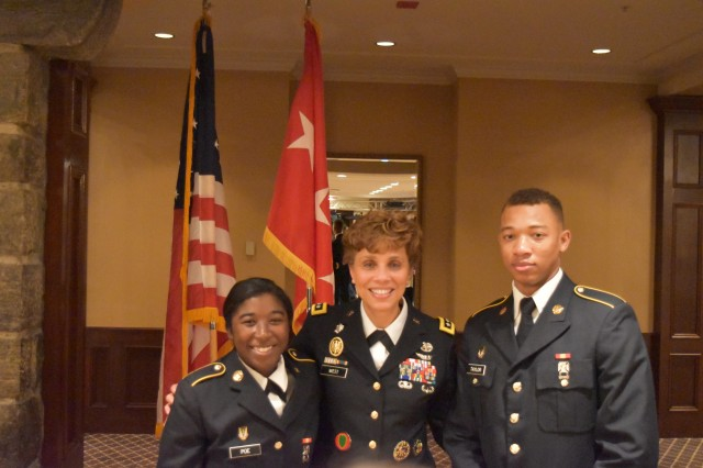 Lt. Gen. Nadja West (center), the 44th Surgeon General of the Army, Commander of U.S. Army Medical Command, and U.S. Military Academy graduate ('82), poses with Cadet Candidates  Janice Poe (left) and John Taylor during the West Point Diversity Outreach Office's Inspire Dinner at the Thayer Hotel on Friday, February 17, 2017.Poe and Taylor are currently attending the U.S. Military Academy Preparatory School, West Point, N.Y.