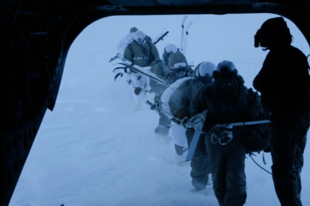 Paratroopers are evacuated by Chinook helicopter after jumping into Deadhorse, Alaska, in minus 56 degrees Fahrenheit wind chill temperatures to find a crashed satellite during a Feb. 22, 2017 Spartan Pegasus exercise. Participating were 150 Soldiers from Alaska-based 25th Infantry Division's 4th Infantry Brigade Combat Team (Airborne).