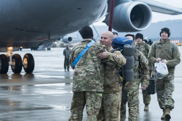 Apache crewmembers with 1st Battalion, 501st Aviation Regiment arrive at Ramstein Air Base, Germany, Feb. 22 in support of Operation Atlantic Resolve. They will spend nine months conducting multiple aviation operations throughout Europe, particularly Romania, Latvia and Poland.