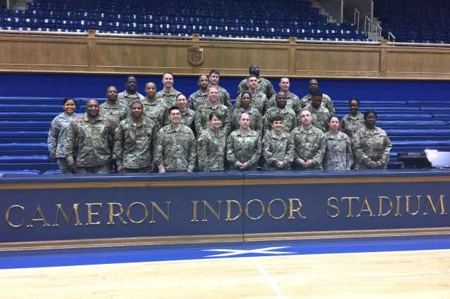Soldiers of the 900th Contracting Battalion participate in a leadership professional development event Feb. 13 at Duke University's Fuqua School of Business in Durham, North Carolina. As part of the event, they toured the university's Cameron Indoor Stadium. The 900th CBN is located at Fort Bragg, North Carolina.
