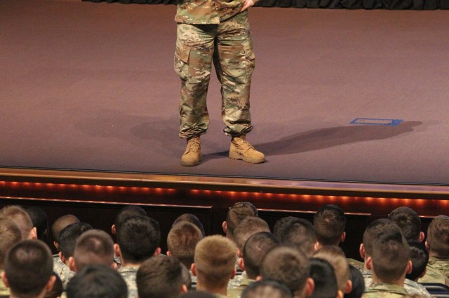 Command Sgt. Maj. John Troxell, Senior Enlisted Advisor to the Chairman of the Joint Chiefs of Staff, speaks to Cadets attending the George C. Marshall Award and Leadership Seminar at Fort Leavenworth, Kansas, Feb. 15.