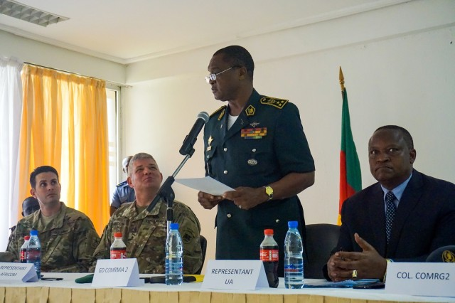 Cameroonian Maj. Gen. Saly Mohamadou, the regional commander and senior host for the planning event, provides remarks during the opening ceremony for the Unified Focus 2017 final planning event (FPE), Douala, Cameroon, Feb. 6, 2016. The UF17 FPE brought partner nation planners together to discuss and shape the inaugural Unified Focus exercise designed to enhance and enable Lake Chad Basin Commission nations to support the Multinational Joint Task Force (MNJTF) counter-Boko Haram operations.