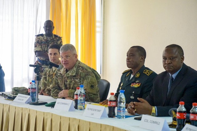 U.S. Army Brig. Gen. Kenneth Moore, U.S. Army Africa deputy commanding general and Army Reserve Engagement Cell chief, provides remarks during the opening ceremony for the Unified Focus 2017 final planning event (FPE), Douala, Cameroon, Feb. 6, 2016. The UF17 FPE brought partner nation planners together to discuss and shape the inaugural Unified Focus exercise designed to enhance and enable Lake Chad Basin Commission nations to support the Multinational Joint Task Force (MNJTF) counter-Boko Haram operations.