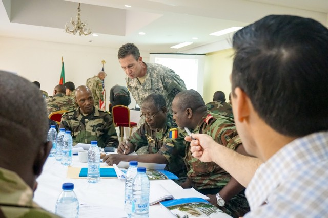 Planners discuss the details of each exercise scenario during the Unified Focus 2017 final planning event (FPE), Douala, Cameroon, Feb. 6, 2016. The UF17 FPE brought partner nation planners together to discuss and shape the inaugural Unified Focus exercise designed to enhance and enable Lake Chad Basin Commission nations to support the Multinational Joint Task Force (MNJTF) counter-Boko Haram operations.