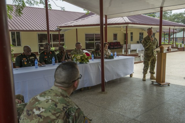 U.S. Army Col. John Osborn, command surgeon for U.S. Army Africa, speaks during the Closing Ceremony for Medical Readiness Training Exercise 17-2 at the 37th Military Hospital in Accra, Ghana, Feb. 24, 2017. MEDRETE 17-2 includes participants from the Ghanaian government, U.S. Army Africa, Brooke Army Medical Center and the North Dakota National Guard. It is the second in a series of medical readiness training exercises that USARAF is scheduled to facilitate in various countries in Africa. The mutually beneficial exercise offers opportunities for the partnered militaries to cooperate on medical specific tasks, share best practices and improve medical treatment processes. (U.S. Army Africa photo by Staff Sgt. Shejal Pulivarti)